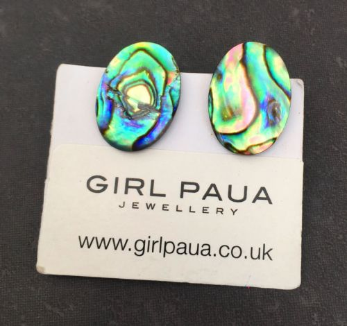 Paua Clip On Stud Earrings - Large Oval Natural PE07-LVN